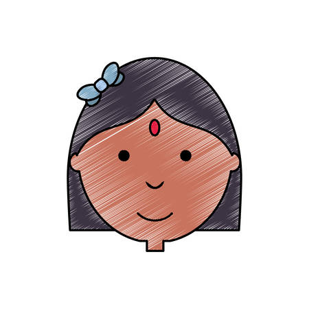colored woman face doodle over white  background  vector illustration Illustration