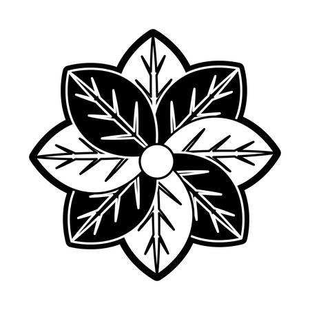 flat line monochromatic flower over white bacground  vector illustration Stock Vector - 88344113
