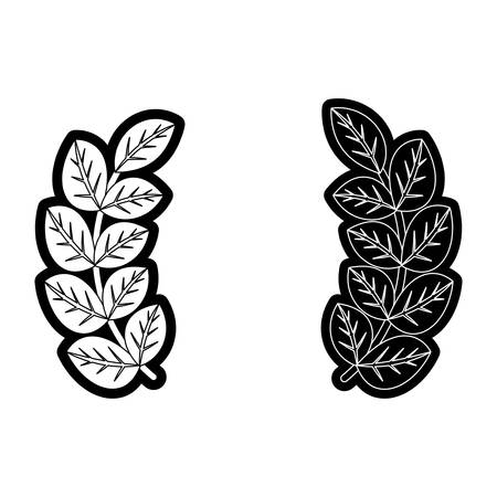 flat line monochromatic bouquet leaves over white bacground  vector illustration Illustration