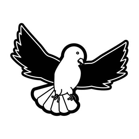 flat line monochromatic peace dove over white  background vector illustration