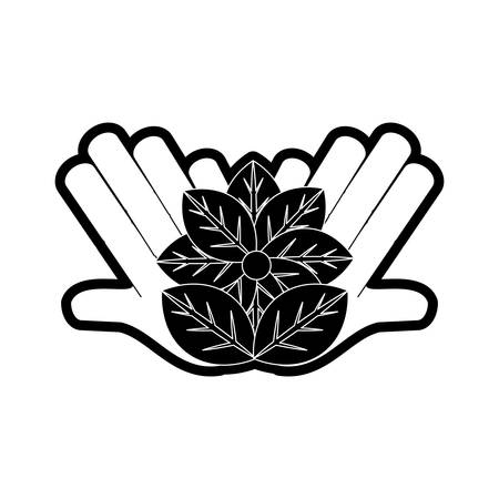 flat line monochromatic hand  with flower  over  white background  vector illustration