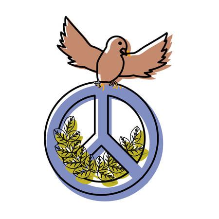 flat line  peace dove over white background vector illustration Illustration