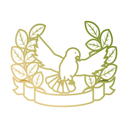 flat  line colored peace dove  with ribbon over white background  vector illustration Illustration
