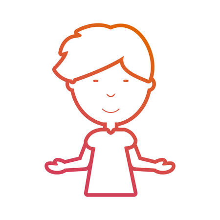 flat line colored man with open arms over white background vector illustration Illustration