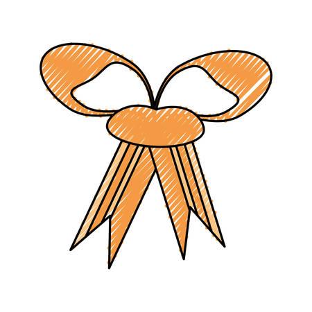 birthday celebration: Hand drawn decorative bow icon over white background vector illustration Illustration