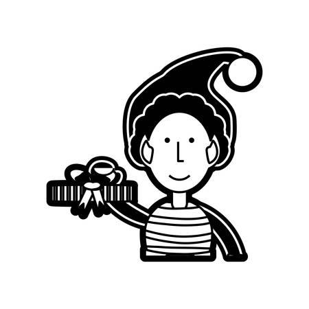 santa helper: cartoon Santa helper icon over white background vector illustration