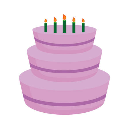 birthday cake icon over white background vector illustration
