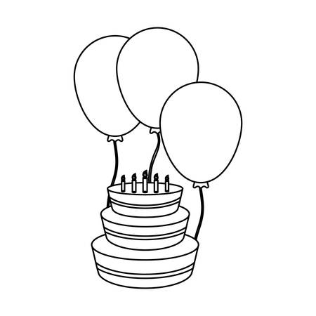 birthday cake and balloons icon over white background vector illustration