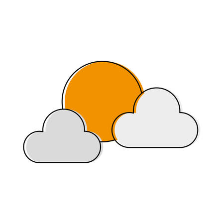 moon and clouds icon over white background vector illustration