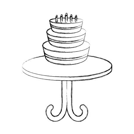 birthday cake icon over white background vector illustration Illustration
