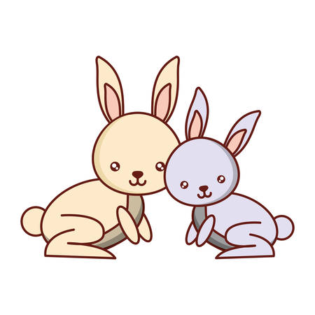 simple life: cute rabbits icon over white background vector illustration