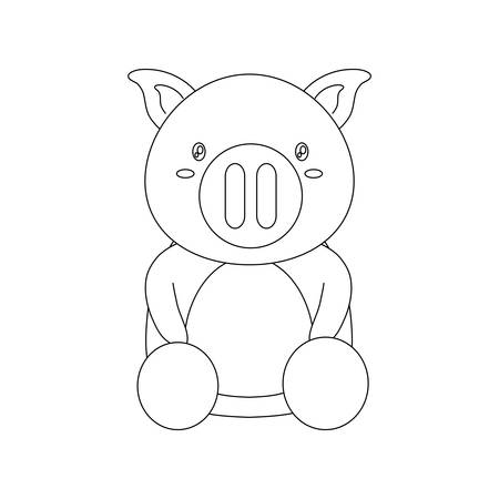 cute pig icon over white background vector illustration Illustration
