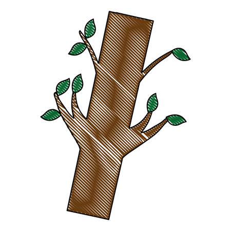 Trunk with leaves icon. Illustration