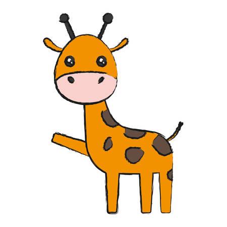 simple life: Cute giraffe icon. Illustration