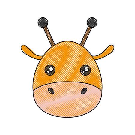 simple life: cute giraffe icon over white background vector illustration
