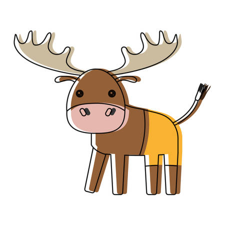 cute moose icon over white background vector illustration Illustration