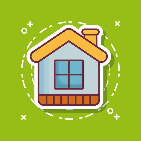 House icon over green background colorful design vector illustration Illustration