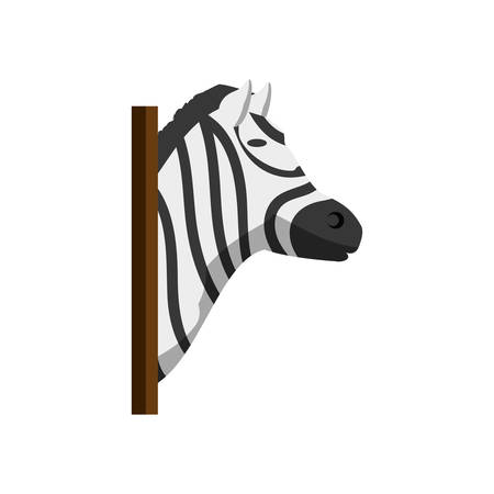colorful  animal trophy  with zebra  over white background  vector illustration