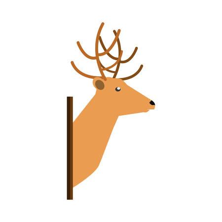 Reindeer head over white background  vector illustration.
