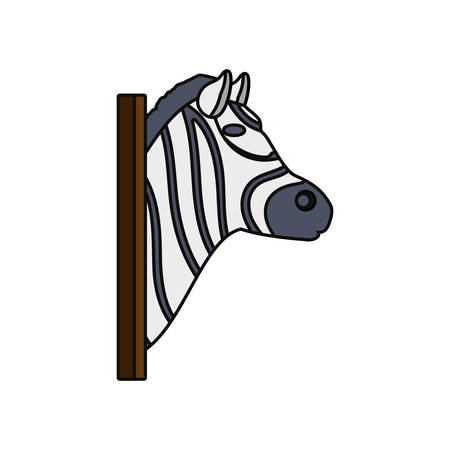 flat line colored animal trophy with zebra  over white background vector illustration