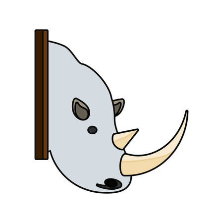 flat line colored animal trophy  with  rhino over white background vector illustration