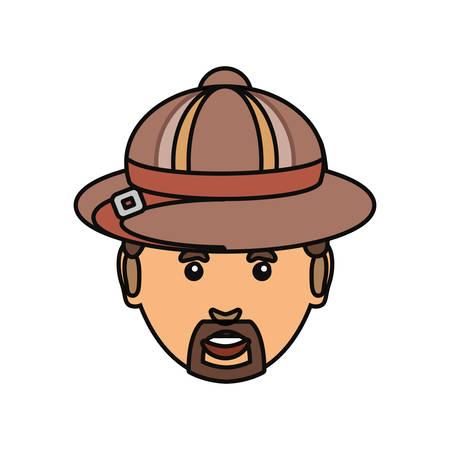 backgrund: colorful  man face with  safari hat over white backgrund  vector illustration