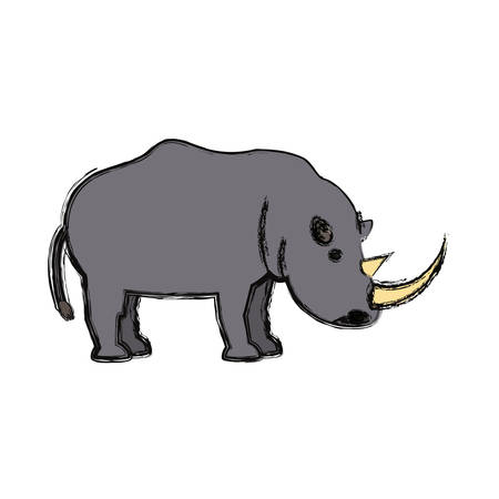 Colorful rhino on white background, vector illustration.