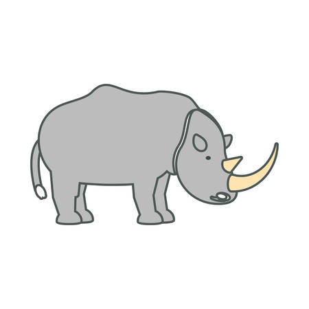 Flat line  colored rhino over white background  vector illustration Illustration