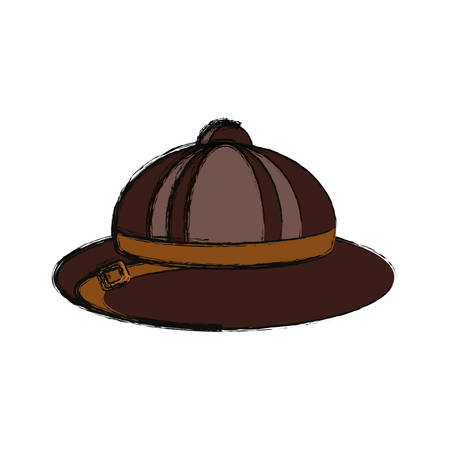 flat line colored  safari hat over white background  vector illustration Illustration