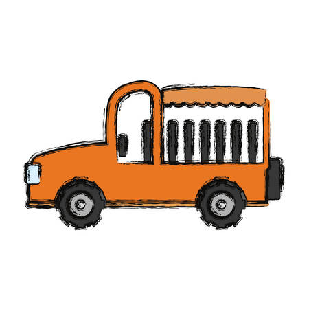 Flat line colored vehicle over white background vector illustration