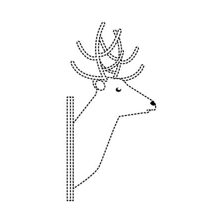 flat line  uncolored  animal trophy  with  reinder sticker  over white background  vector illustration