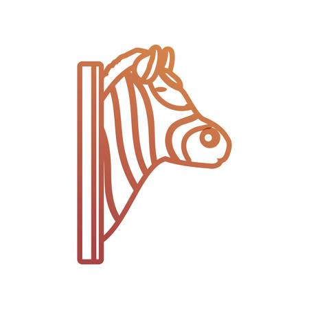 flat line animal trophy with zebra  over  white background  vector illustration Illustration
