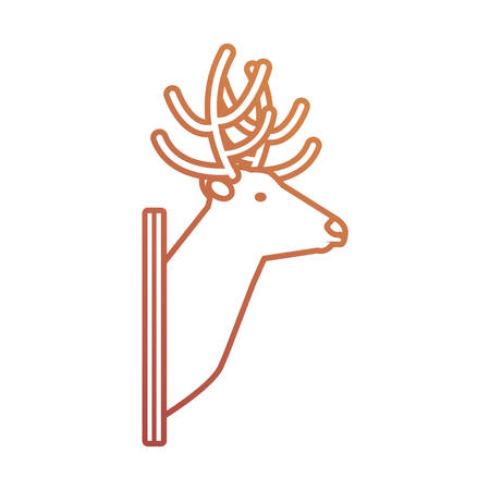 Flat line animal trophy with reindeer on white background, vector illustration.