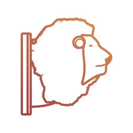 Flat line animal trophy with lion on white background, vector illustration.