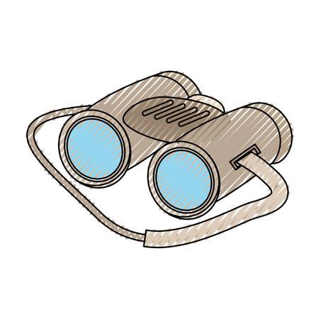 colored binocular doodle over white background  vector illustration Illustration