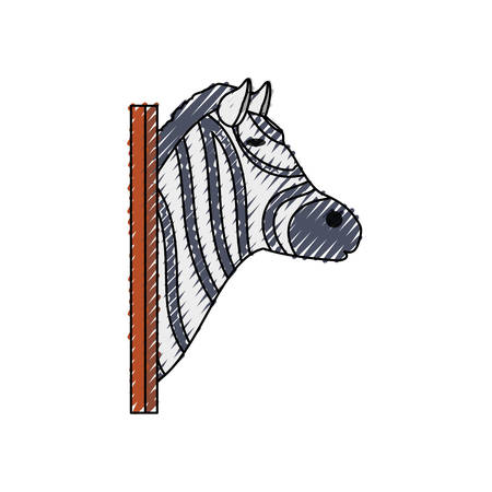 wall socket: colored  animal trophy  with zebra doodle  over  white background  vector illustration