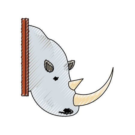 colored  animal trophy with rhino doodle over  white background  vector illustration Illustration