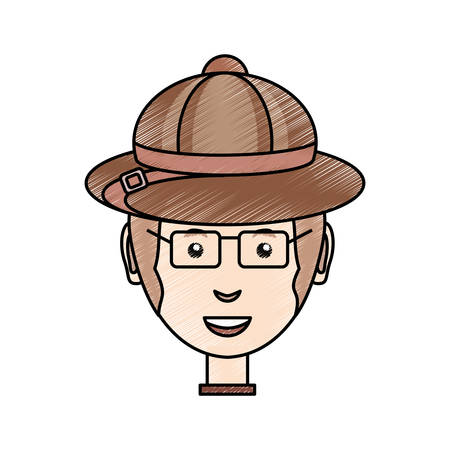 colored  man face with safari hat  doodle over white background  vector illustration