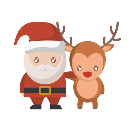 santa claus and rudolph deer icon over white background vector illustration