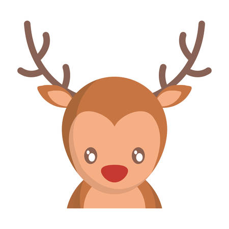 christmas deer icon over white background vector illustration