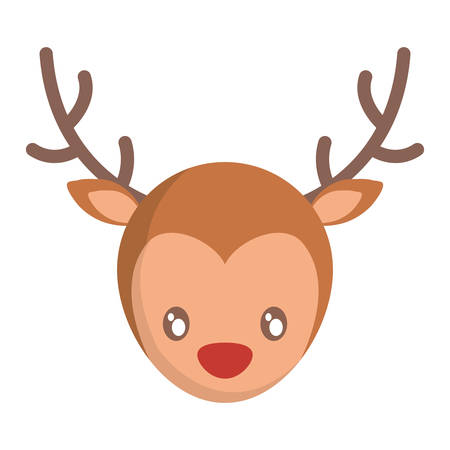 new: christmas deer icon over white background vector illustration