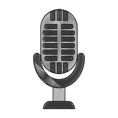 retro microphone icon over white background vector illustration Illustration