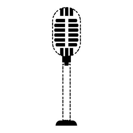 retro microphone icon over white background vector illustration Illustration