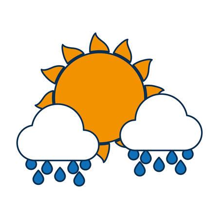 태양과 구름 아이콘 일러스트