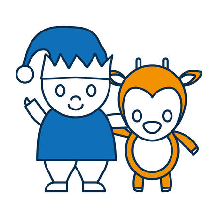 santa helper: santa helper and deer icon over white background vector illustration Illustration