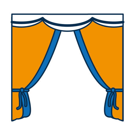 home theater: Curtains icon over white background in colorful, cartoon illustration. Illustration
