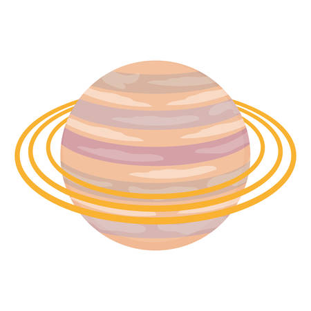 saturn planet icon over white background vector illustration