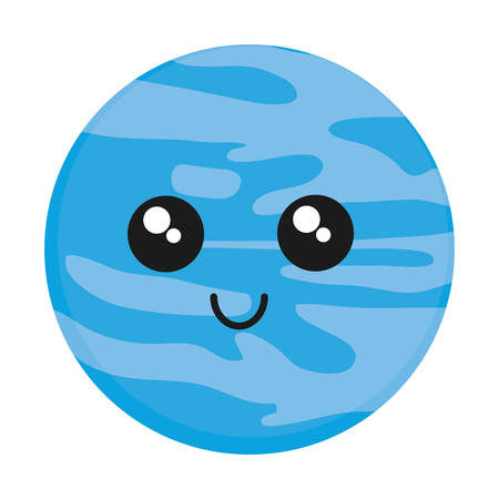 flat earth: Kawaii Neptune planet icon over white background vector illustration.