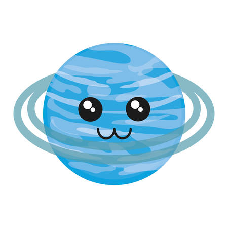 neptuno: Kawaii Uranus icon over white background vector illustration.