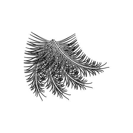 flat line uncolored christmas pick over  white background  vector illustration Illustration